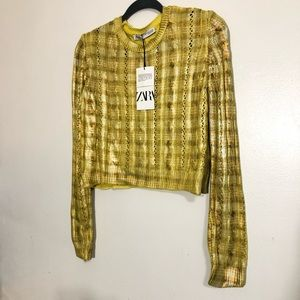 ZARA METALLIC CABLE KNOT CROP SWEATER  MED NWT